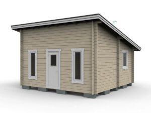 Bastustuga 25 m² funkis med 4,8 m² basturum, 13 m² allrum, 4 m² sovrum och 3,2 m² hall bild sedd framifrån