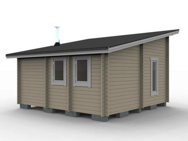 Bastustuga 25 m² funkis med 4,8 m² basturum, 13 m² allrum, 4 m² sovrum och 3,2 m² hall bild sedd bakifrån