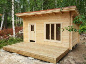 Friggeboda 15 m² funkismodell med tillval 2,5 m altandäck