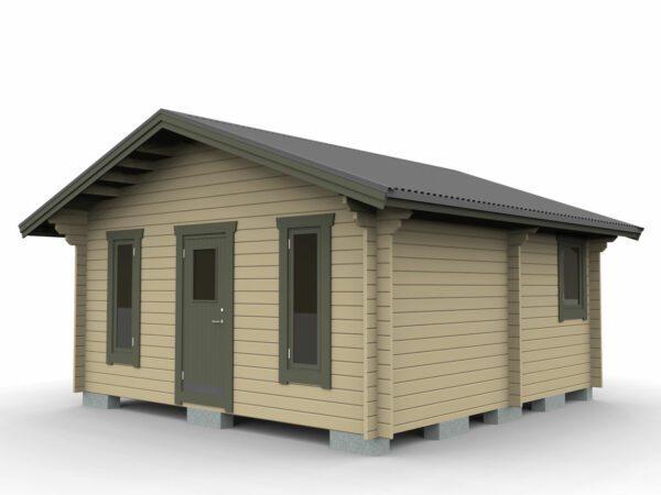 Attefallstuga 25 m² med tre rum, ytterdörr och 3 st fönster