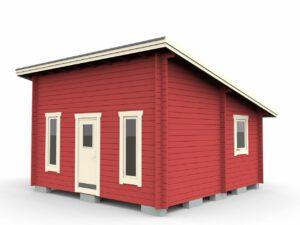 Attefallstuga 25 m² funkismodell med tre rum, ytterdörr och 3 st fönster