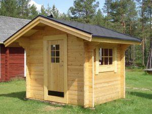 Friggeboda 5 m² med ytterdörr och 1 fönster