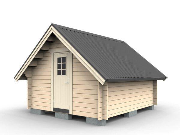 Friggeboda 15 m² med större taklutning och lägre sidoväggar