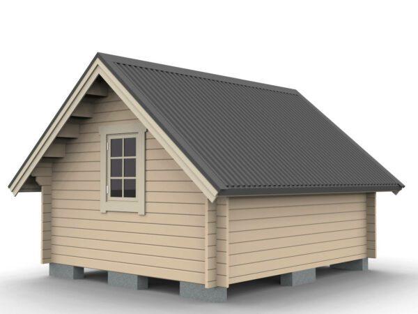 Friggeboda 15 m² med större taklutning och lägre sidoväggar sedd snett bakifrån