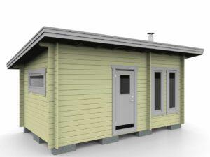 Bastustuga 15 funkis med relaxrum och basturum samt tre fönster