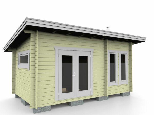 Bastustuga 15 funkis med två rum och tillval pardörr