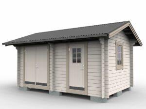 Förråd 15 m² med två rum och pardörr i ena rummet och enkeldörr i andra