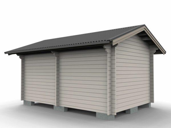 Förråd 15 m² med två rum och pardörr i ena rummet och enkeldörr i andra sedd bakifrån