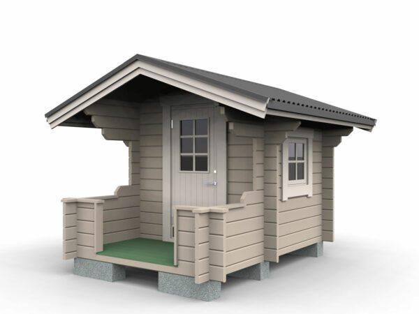 Lekstuga 2,9 m² (1,8 x 1,6 m) med altan 1 x 1,8 m. Lekstugan är försedd med ytterdörr 700 x 1600 mm och fönster 600 x 600 mm