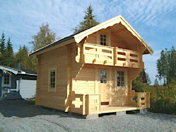 Loftstuga_13-2: Loftstuga 13 m² med loft, 1 m altan och balkong