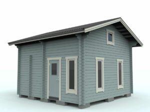 Loftstuga_25-2: Loftstuga 25 m² med loft, allrum, förråd/wc, sovrum och hall