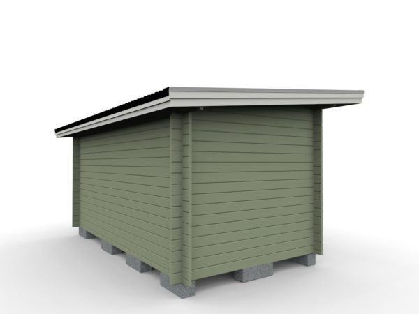 Friggeboda 12 m² med ett rum tillverkad av 45 mm tjock timmerprofil.