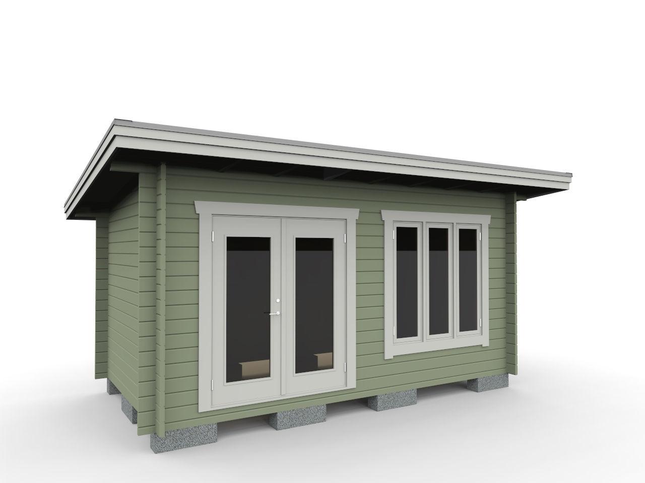 Friggeboda 15 m² med pardörr 16/19 och fönster 15/15
