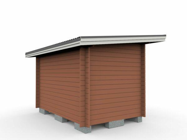 Friggeboda 8 m² med ett rum tillverkad av 45 mm tjock timmerprofil.