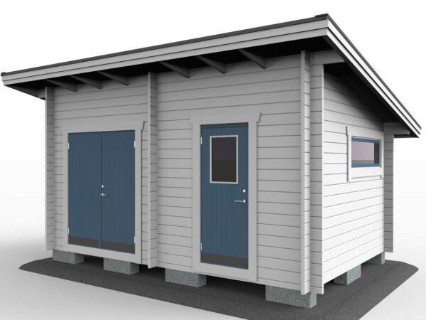 Förråd 15_2 funkis med pardörr, enkeldörr och fönster